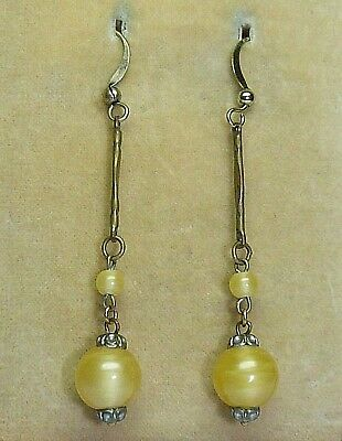 Vintage Art Deco Czech yellow Satin Glass bead earrings to match 1930s necklaces