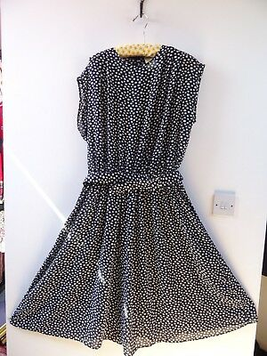 VINTAGE M&S polyester polkadot black chiffon boho/festival/party 80s dress  M