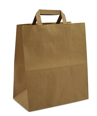 Large Kraft Paper Sos Carrier Bags Brown With Flat Inside Handle Heavy Duty