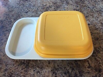 Vintage Tupperware Meal Mate Divided Tray Plate Lunch Box With Lid