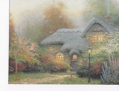 1993 Thomas Kinkade post card Heather's Hutch, Sugar and Spice Cottages I