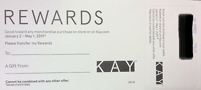 Kay Jewelers $7200.00 Rewards Certificate Valid 1/2/19 - 5/1/19