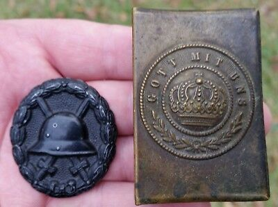 Original Wwi Imperial German Brass Match Box Cover & Black Wound Badge