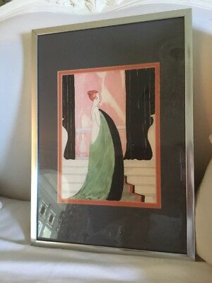 Antique Vtg Signed Art Deco Fashion Ny Institute 1919 illustration art original