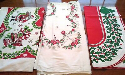 Lot of 3 Vintage CHRISTMAS TABLECLOTHES, CUTTERS
