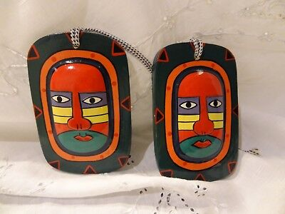 Balinese Hand Painted Christmas ornament Carved Wood Bali Folk Art Set of 2