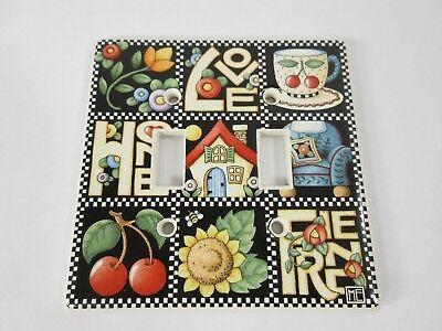 Mary Engelbreit -Tile Light Switch Wall Plate Cover LOVE HOME FAM Vintage Double