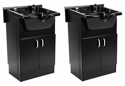 DUO Shampoo Cabinet SANDEN BLACK w Faucet, Bowl, Drain for Beauty Salon and Spa