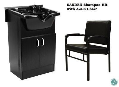 SANDEN Shampoo Cabinet (Shampoo Bowl, Faucet) and Reclining Shampoo Chair BLACK