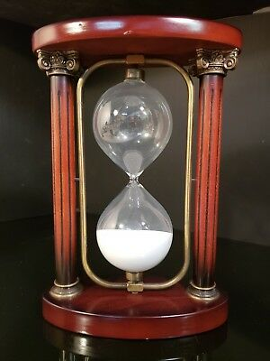 Wood & Brass Sand Hourglass Large Clock Vintage 10.5'' One Hour Retro Timer