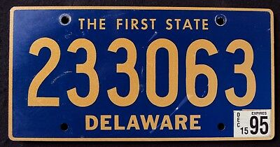 """DELAWARE """" THE FIRST STATE - 233063 """" 1995 DE Vintage Classic License Plate"""