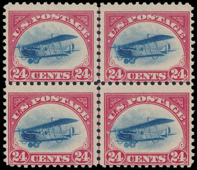 1918, CURTISS JENNY, 24c CARMINE AND BLUE, CENTRAL LINE BLOCK OF 4, SCOTT #C3