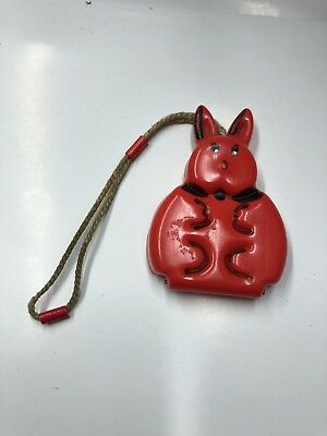 Vintage Childs Old Plastic Red Bunny Purse Got To See!!! Doll Accessories