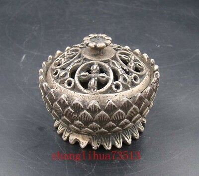 Collectible Handmade Carving Statue Copper Silver Lotus Incense Burner
