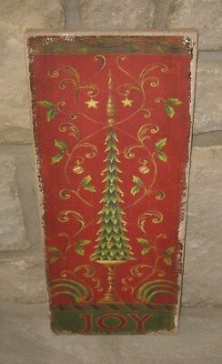 JOY CHRISTMAS PICTURE Sign*Wall/Mantel*Primitive/French Country Farmhouse Decor