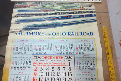 VINTAGE BALTIMORE and OHIO 1957 CALENDAR (ROLLED) with ALL 13 MONTH LEAFS