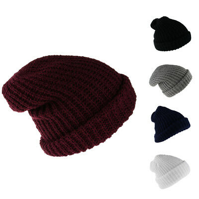 ad433694f62 Unisex Adult Winter Warm Chunky Soft Stretch Cable Knit Beanie Cap Ski Hat