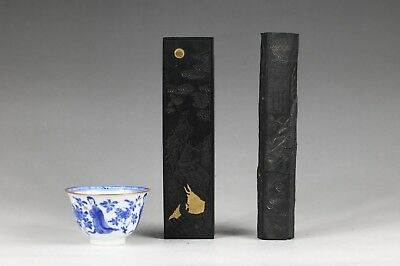 two rare chinese moulded and carved ink cakes