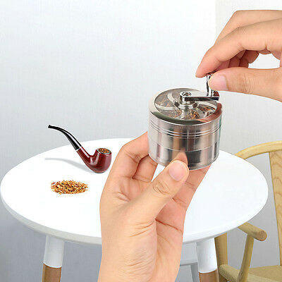 """4 Piece  Magnetic 2.5"""" Silver Tobacco Herb Grinder Spice Herbal Zinc Alloy Scoop"""