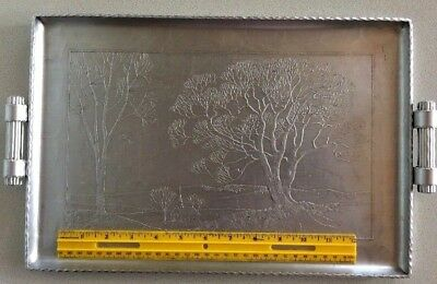 """Arthur Armour Aluminum Serving Tray Country Pastoral Scene Trees & Church 10x17"""""""
