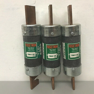 Lot of 3 New Bussmann Fusetron FRN-R125 Fuses