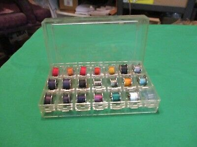 Vintage Plastic Case Of 21 Sewing Bobbins With Thread.