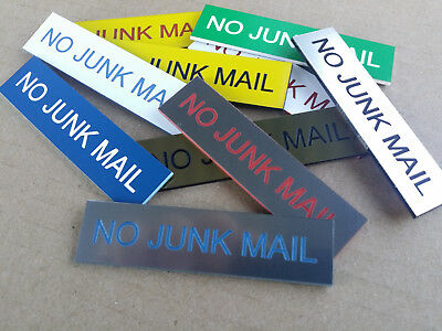 No Junk Mail Sign for Mailbox Letter Box - 30 Colours & 3 Medium to Large Sizes