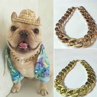 Adjustable Pet Puppy Dog Chain Collar Punk Gold Plated Cat Safety Collar 36/45cm