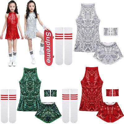 Girls Shiny Modern Jazz Hip Hop Dance Costumes Kid Sequins Street Dancing Outfit
