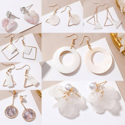 White Graceful Shell Flower Long Tassel Drop Dangle Earrings Ear Stud 19 Models