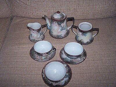 11-Pc Collectible Vintage Nippon Hand Painted Moriage Beaded Dragon China Set