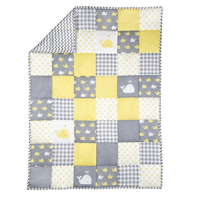 Yellow and Grey Baby Blanket for Newborn Kids - Whale Print Toddler Stroller