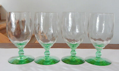 Vintage Set Of 4 Green Depression Crystal Goblet Stem Wear, Perfect Condition