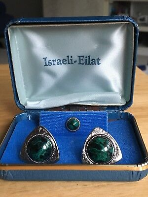 "Vintage 1970's Silver Israeli - Eliat Dark Green & Black Large 1"" Cuff Links NIB"