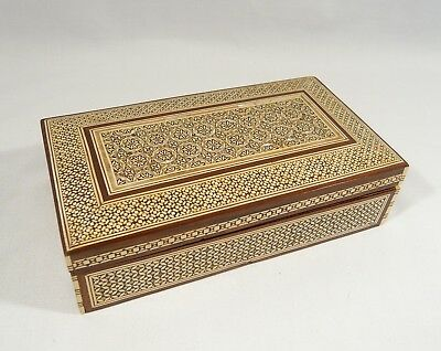 Inlaid Carved Mother of Pearl ANGLO INDIAN MOSAIC Wooden 8 inch  BOX High Detail
