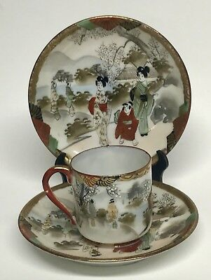 Japanese Kutani Porcelain Cup and Saucers