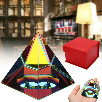 Large Crystal Iridescent Pyramid Home Art Decor Rainbow Colors with Gift Box