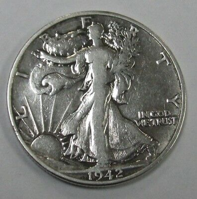 1942 S Walking Liberty 90% Silver Half Dollar- Almost Uncirculated