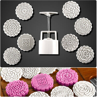 100g Mooncake Mold +8 Flower Stamps DIY Baking Pastry Round Moon Cake Mould Tool