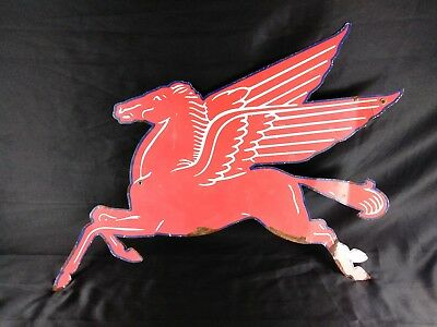 "Vintage Mobil Oil Large 28"" Blue Border Pegasus Metal Advertising Sign NR"