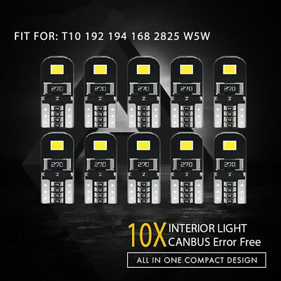 10x T10 2825 168 194 CANBUS 2835SMD LED Map Reading Light Interior Lights Bulb