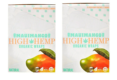 High Hemp Mauimango Wraps 2 Box 50 Pouch (100 Wraps) NON GMO ORIGINAL