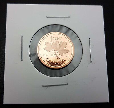 1992 1 Cent Penny Canada Proof - Double Date Heavy Cameo - From Mint Set