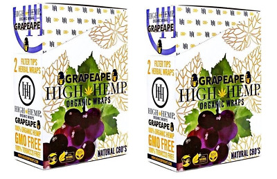 High Hemp Grapeape Wraps 2 Box 50 Pouch (100 Wraps) NON GMO ORIGINAL