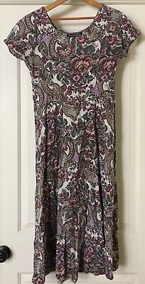 Vintage 90s All That Jazz Dress Floral Short Sleeve A-line Midi Women's Size 7/8