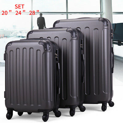 Gray  3 Pcs Luggage Travel Set Bag ABS+PC Trolley Suitcase