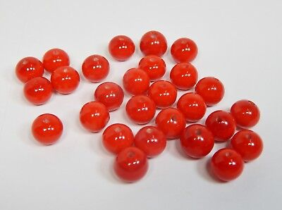 25 Vintage 1960s Japanese Japan Glass, RED w/ Swirls, Round Spacer Beads 9- 10mm