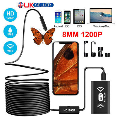 8MM 1200P WiFi Endoscope Inspection Camera IP68 for iPhone Android PC iPad IOS