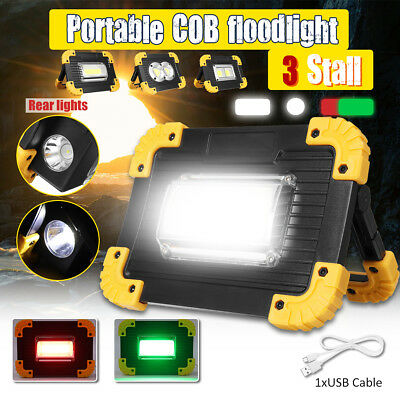 Rechargeable COB Floodlight LED Work Light Portable Camping Emergency Lamp USB