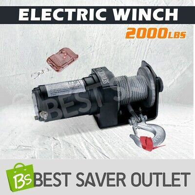 2000LBS Electric Winch Steel Cable Rope Wireless Remote Control 12V ATV Boat 4WD